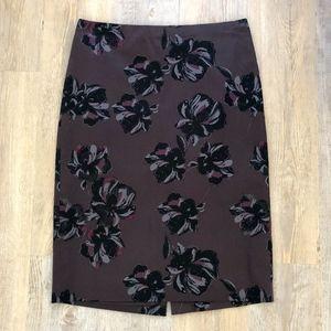 Ann Taylor Dark Floral Pencil Skirt